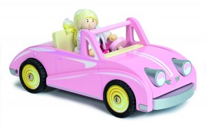pink wooden dolls car