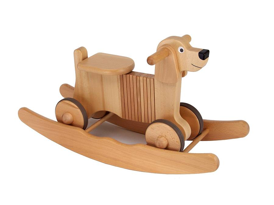 wooden rocking dog