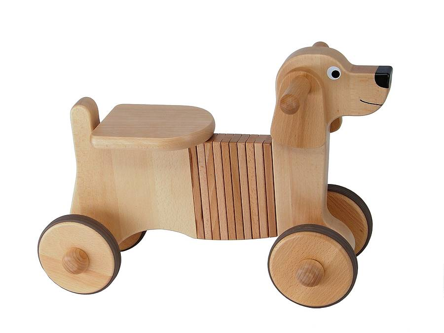 wooden ride-on dog