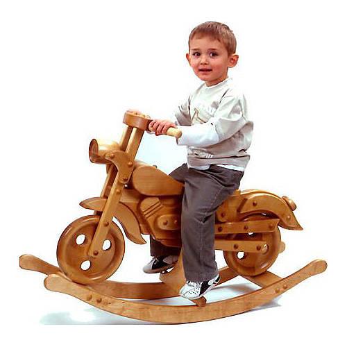 vintage rocking bike with child